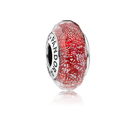 Red Shimmer Glass Charm Red