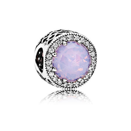 Opalescent Pink Radiant Hearts Charm Silver