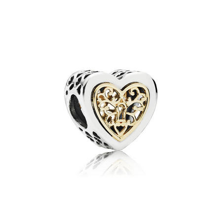 14Ct Gold And Sterling Silver Locked Hearts Openwork Charm