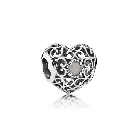 Sterling Silver June Signature Heart Charm