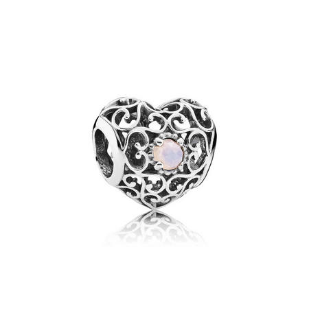 Sterling Silver October Signature Heart Charm