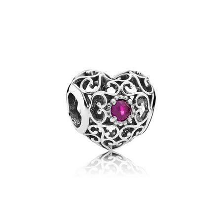 Sterling Silver July Signature Heart Charm