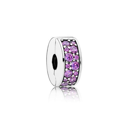 Silver Clip-In Charm With Purple Cubic Zirconia