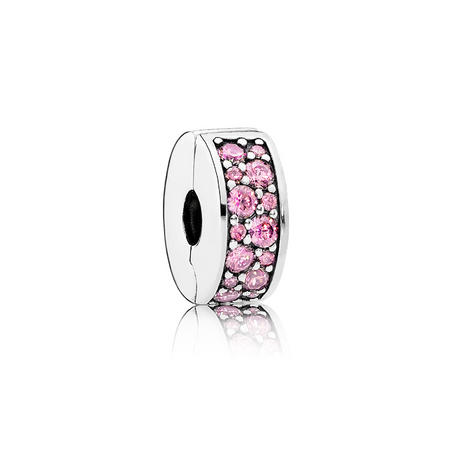 Silver Clip-In Charm With Pink Cubic Zirconia