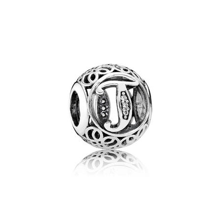 Letter T Charm Silver