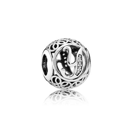 Letter Y Charm Silver