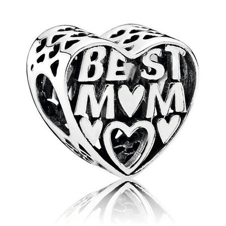 Best Mum Heart Silver Charm