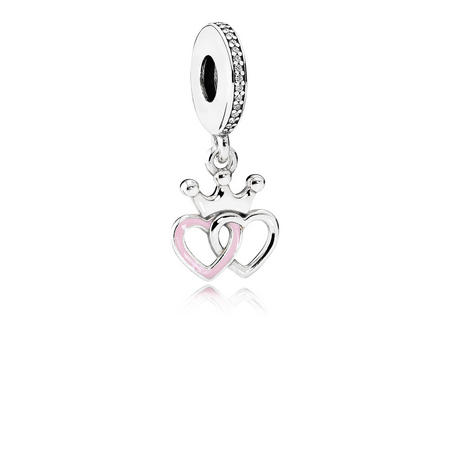 Crowned Hearts Charm Silver