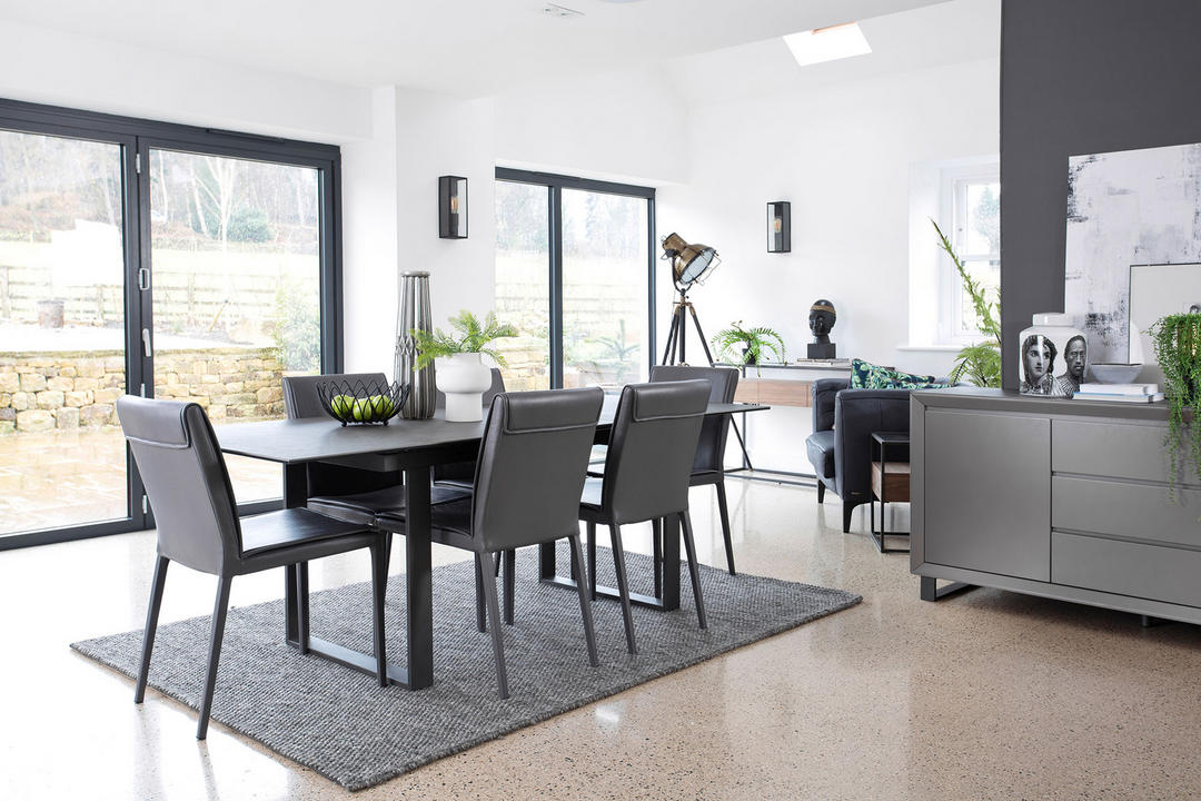 Panama 176cm-216cm Extending Dining Table, Dark Grey