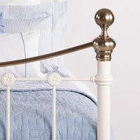 Selkirk Bedstead Glossy Ivory and Antique Brass Small Double (4ft)