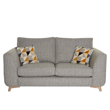 Stockholm Three-Seater Sofa With Mustard/Grey Scatters Fawn