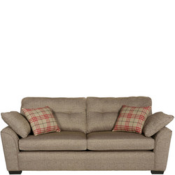 Tempest Sofa With Plaid Scatters Fawn