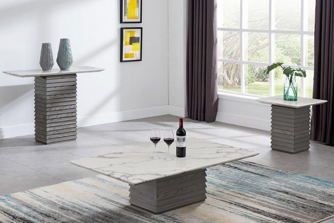 Tivoli Coffee Table White Marble+Grey Lacquer TIV6264