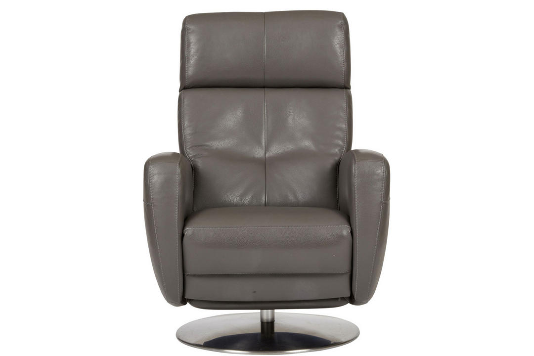 Twist 1M Armchair, Trentino Carbon with Brushed Steel Disc Base