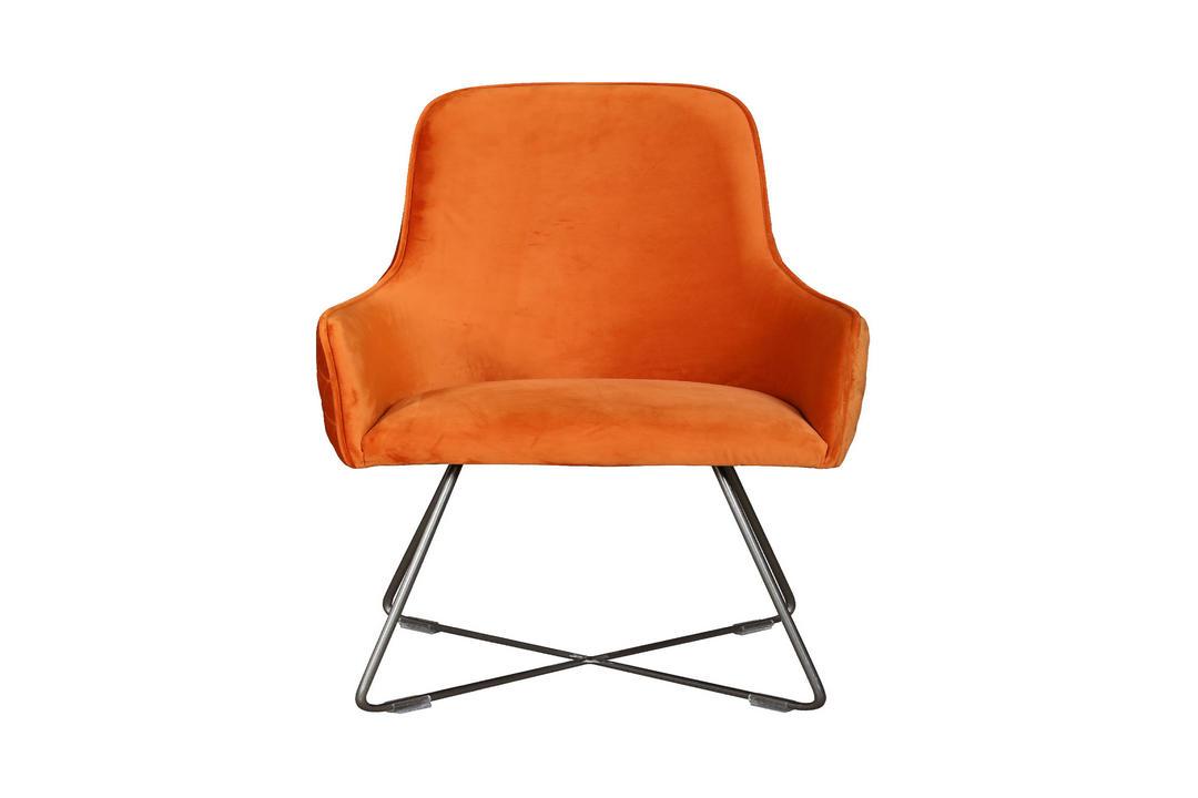 Utah Upholstered Chair Plush Burnt Orange+Pewter Legs