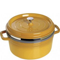 Round Cocotte With Steamer Mustard 26CM