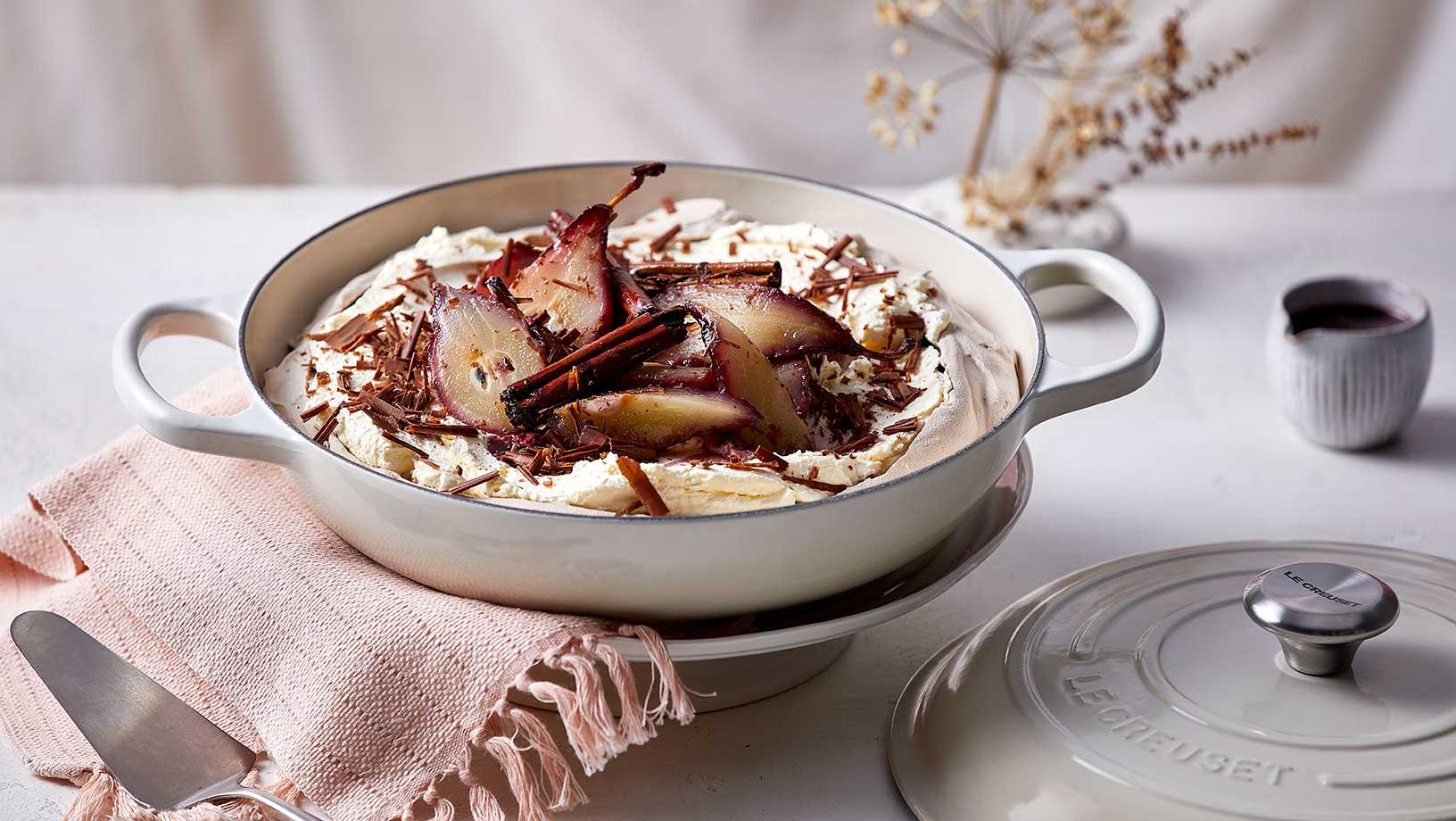Chocolate and Poached Pear Pavlova