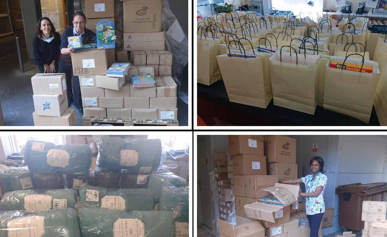 Collage of four images. 1. A woman and a man leaning over and against boxes filled with childrens books. The man is holding one of the books up. 2. A close up of many paper bags on a table in an office filled with various books and goodies. 3. A close up of light blue blankets wrapped in clear plastic on a table. 4. A nurse facing forward about to pick up a box from a storehouse.