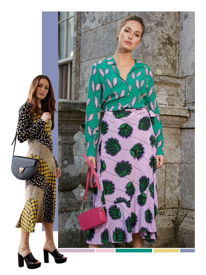 Collage of two models both wearing colourful dresses covered in mixed and repeated patterns