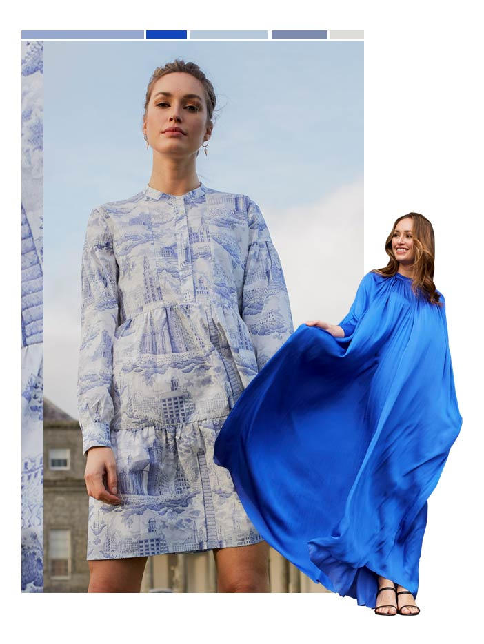 Collage of two models both wearing blue dresses in different shades