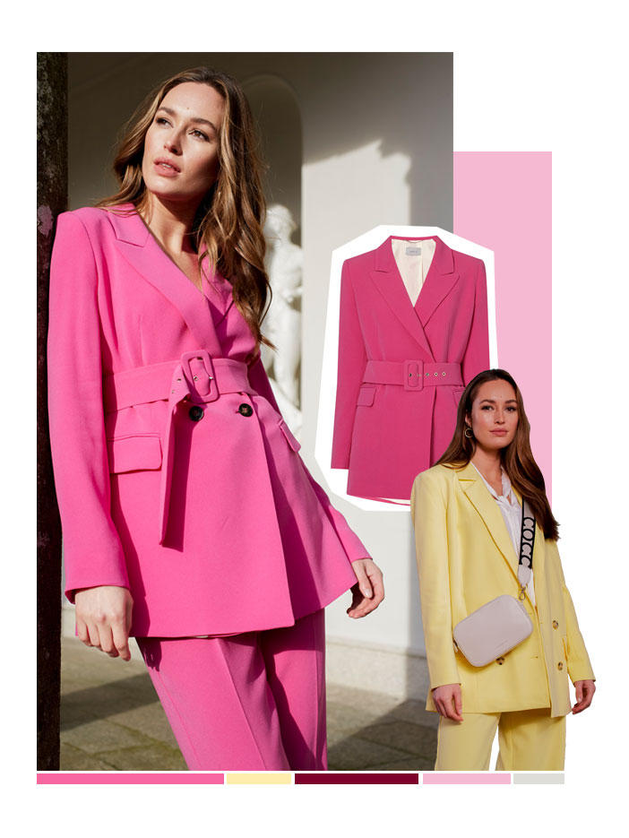 Collage of two models both wearing bright coloured suits. One in Pink, one in Yellow with another pink blazer cut out image in the middle.