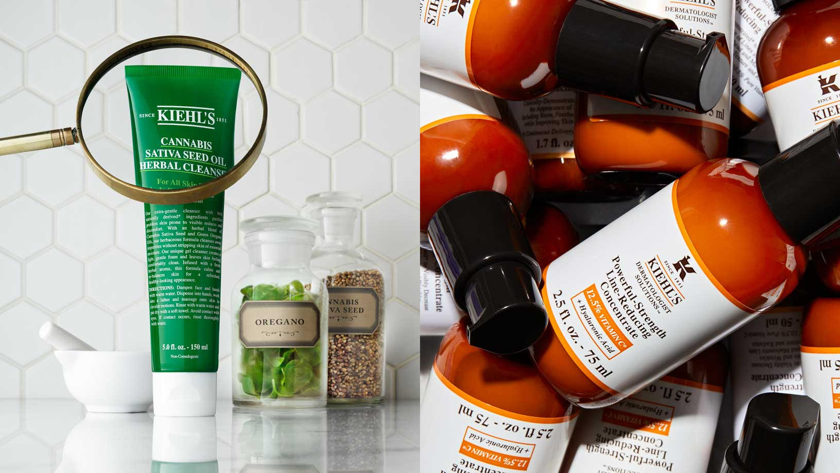 Two Kiehl's images combines - on the left, Cannabis Sativa Seed Oil Herbal Cleanser on a marbel counter top with a magnifying glass over part of the packaging. Herbs in glass jars and a pestel and mortar in the background. On the right, Powerful-Strenght Line-Reducing Concentrate piled on top of eachother.