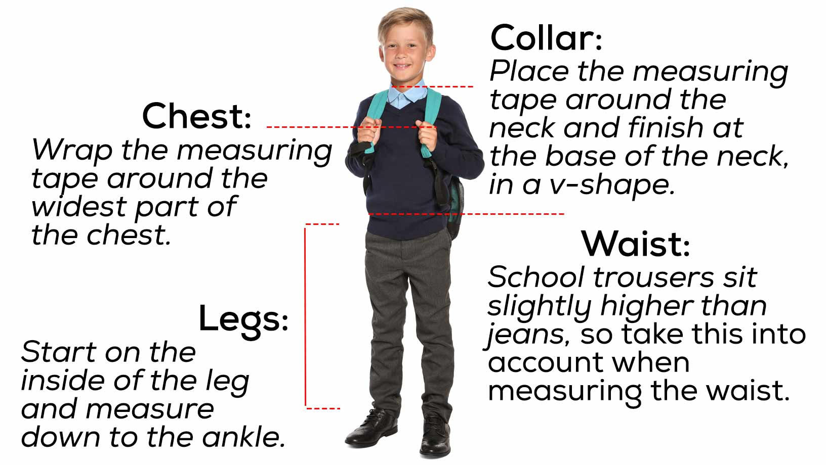 A young boy in his school uniform, with pointers outlining how to properlt measure boys uniforms