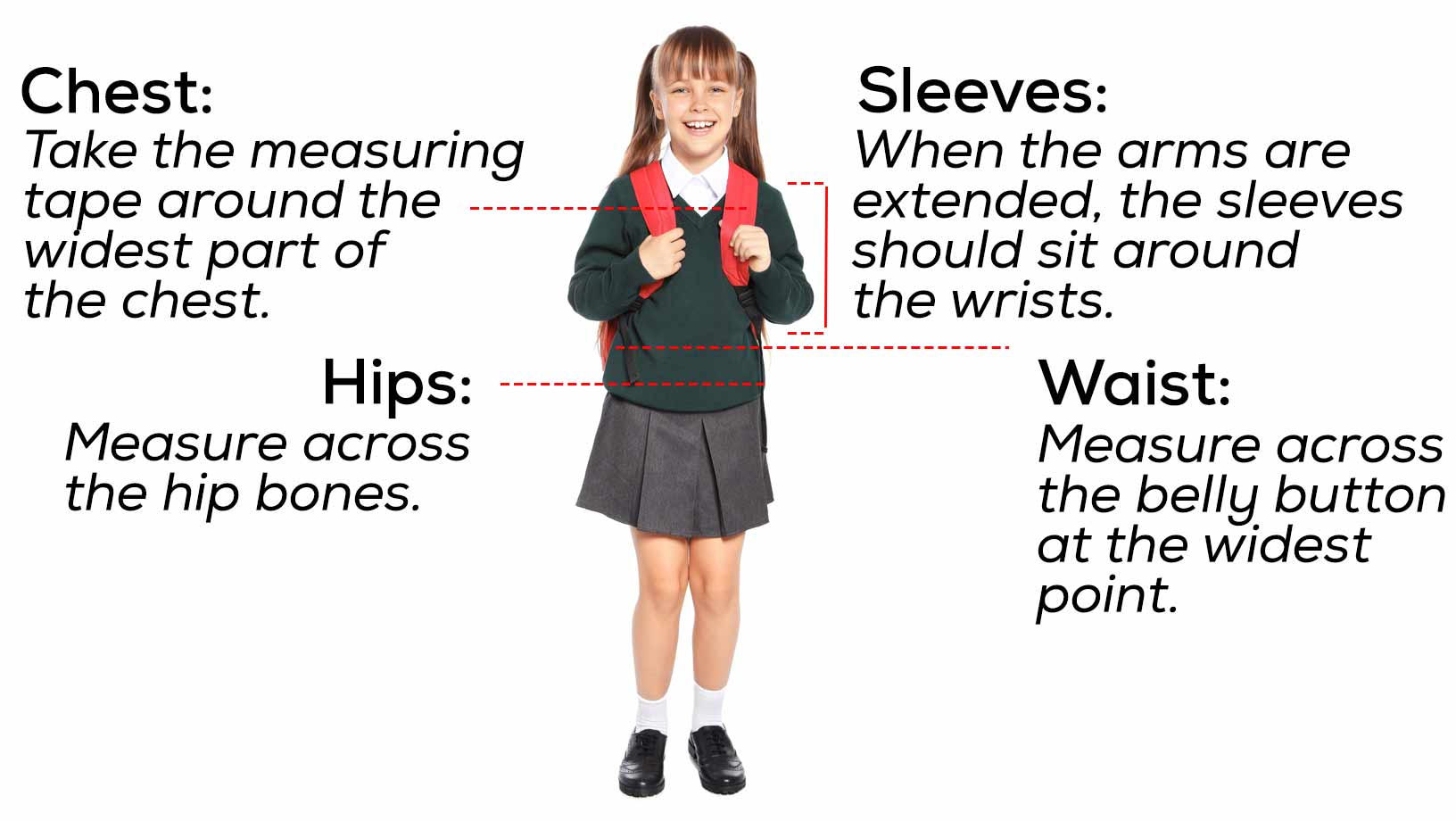 A young girl in her school uniform, with pointers outlining how to properlt measure girls uniforms