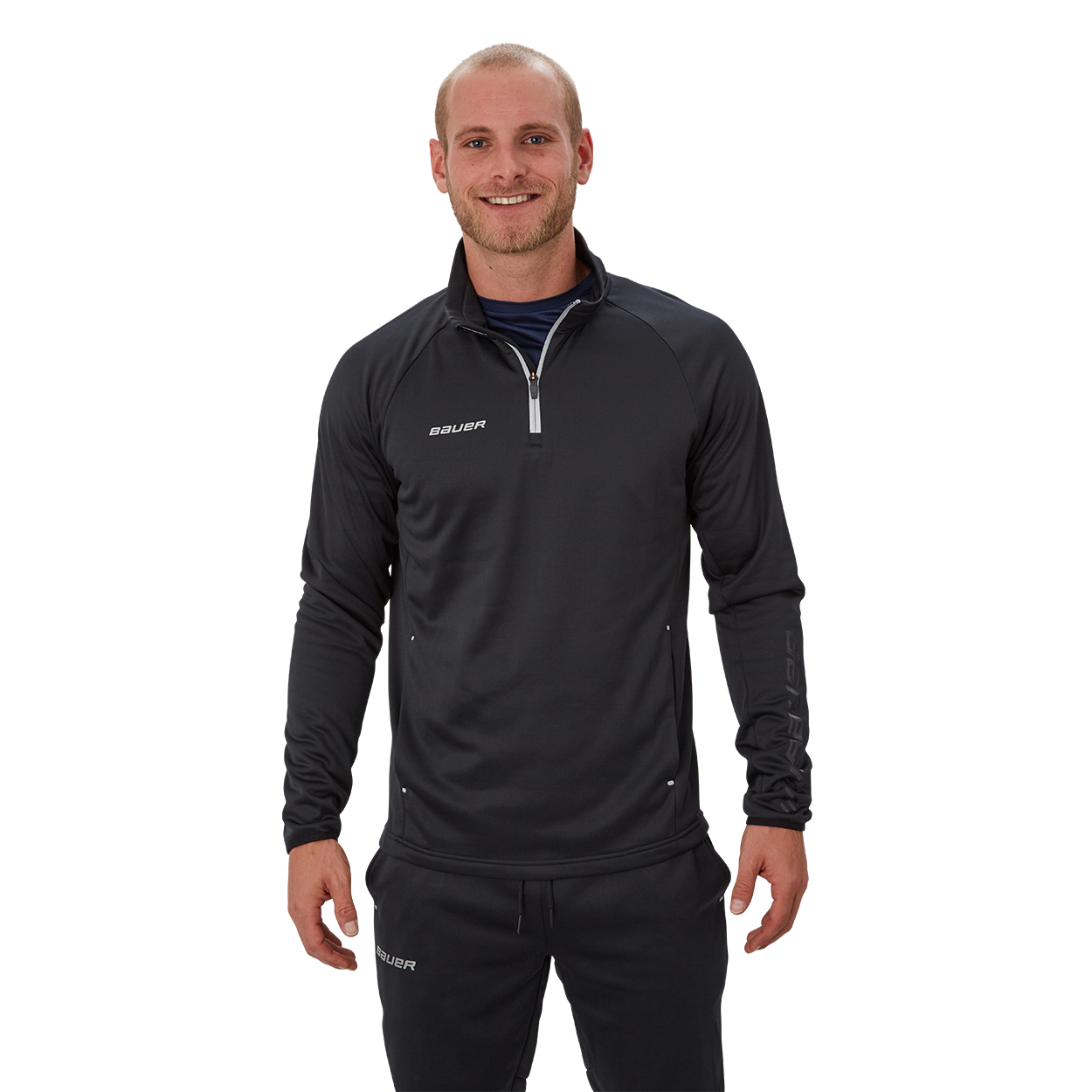 Bauer Vapor Fleece Quarter Zip,Black,medium