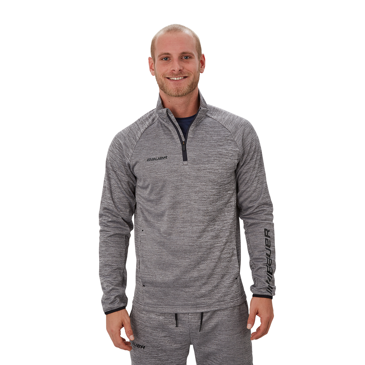 Bauer Vapor Fleece Quarter Zip,Grey,medium