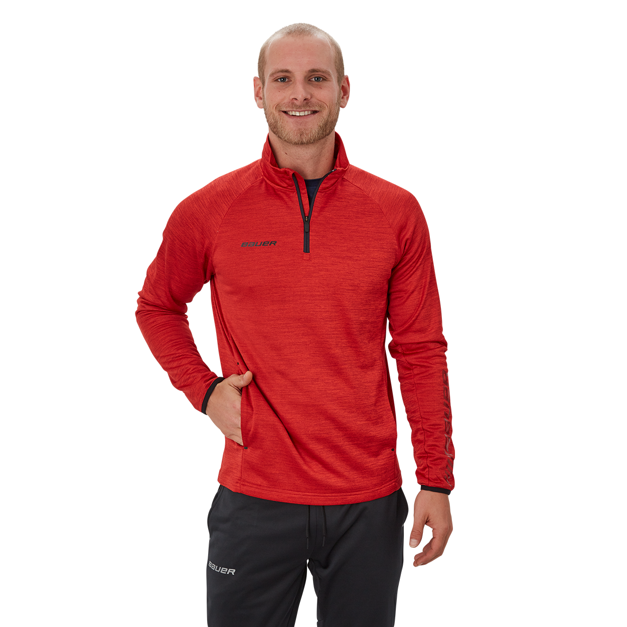 Bauer Vapor Fleece Quarter Zip,Red,medium