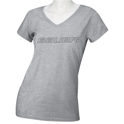 Women's Short Sleeve V-Neck T-Shirt - Senior,GRAU MELIERT,Medium