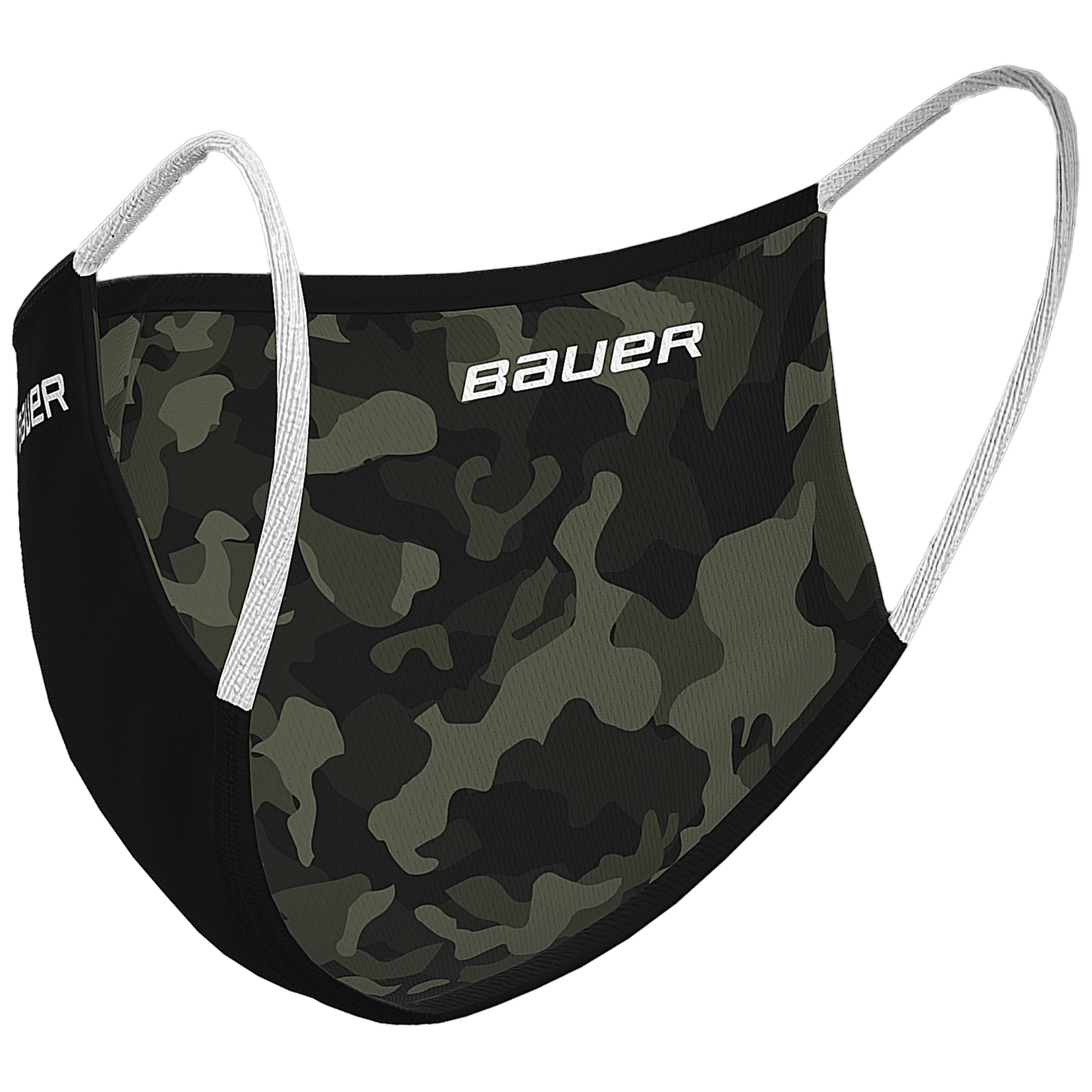Bauer Reversible Fabric Face Mask,Black/Camo,Medium