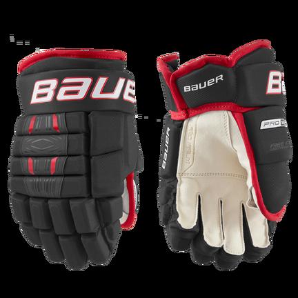 BAUER PRO SERIES Glove Junior,Schwarz/rot,Medium