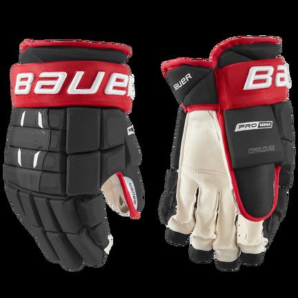 BAUER PRO SERIES Glove Senior,Svart röd,medium