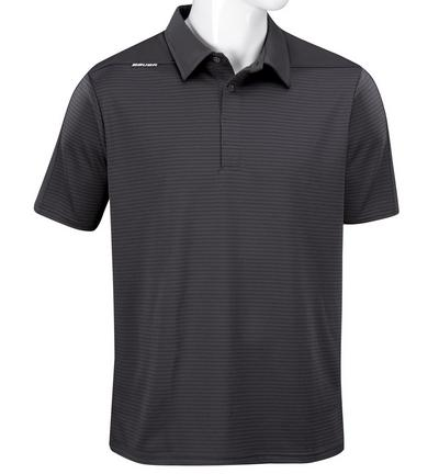 Short Sleeve Striped Sport Polo Shirt - Senior,GRAU,Medium