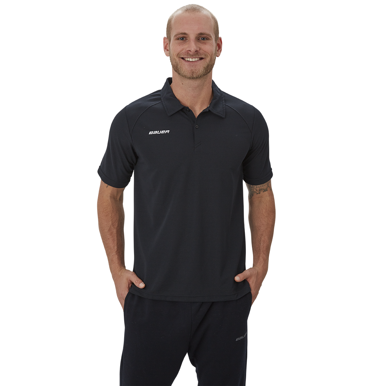 Bauer Vapor Team Pique Polo,Black,medium