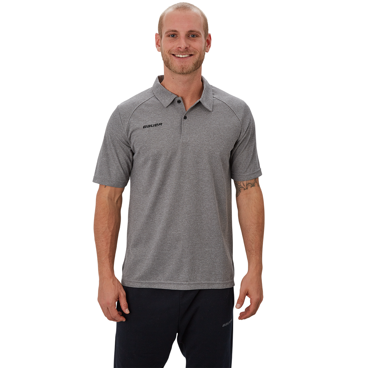 Bauer Vapor Team Pique Polo,Grey,medium