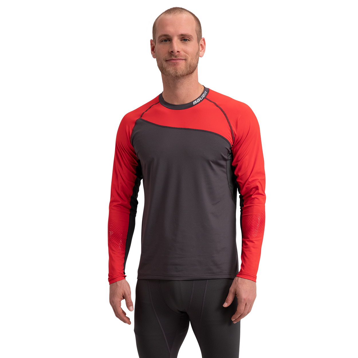 Pro Long Sleeve Base Layer Top,Red,medium