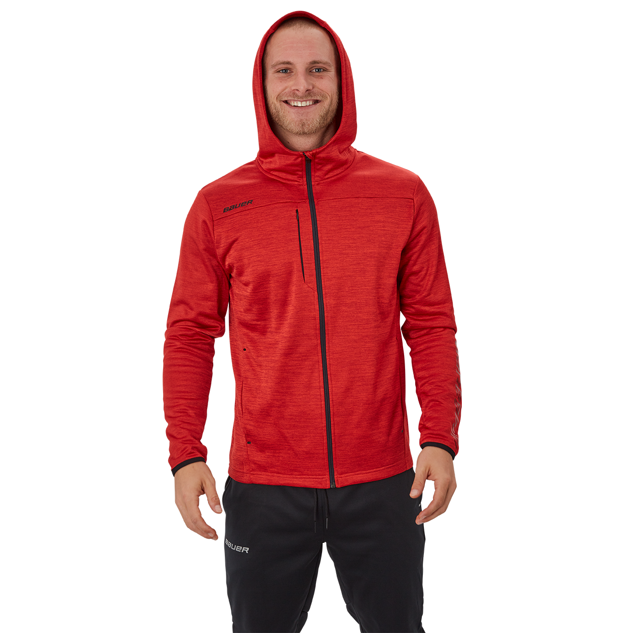 Bauer Vapor Fleece Zip Hoodie,Rot,Medium