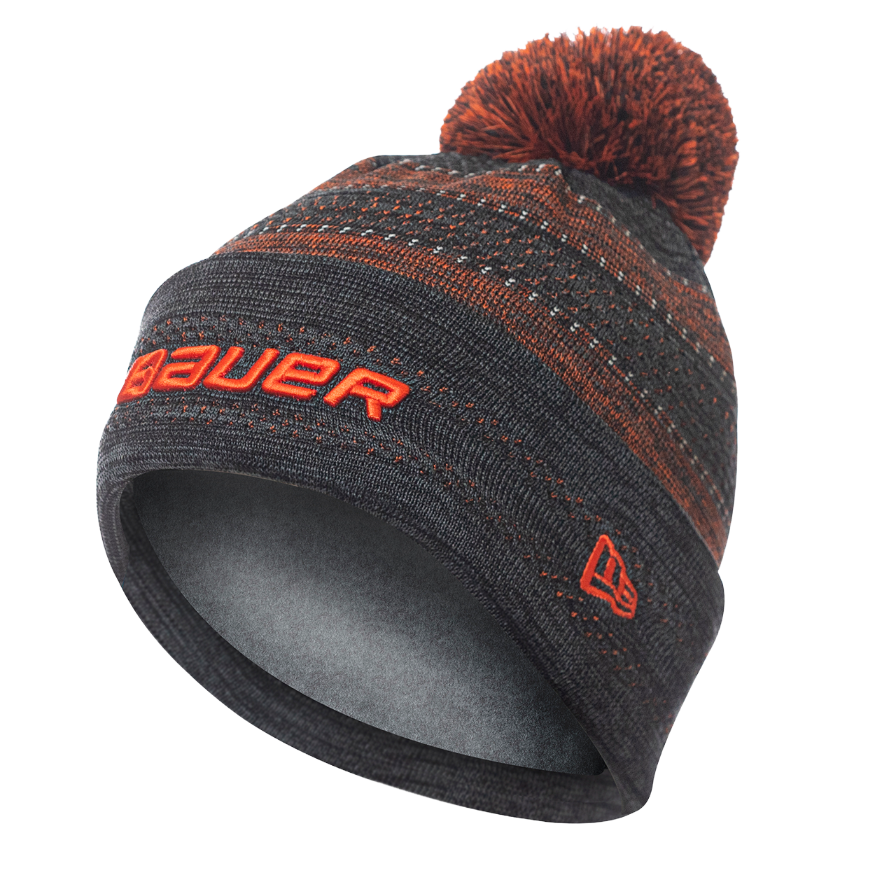 New Era Color Pop Pom Knit Stripe Beanie Senior - Orange