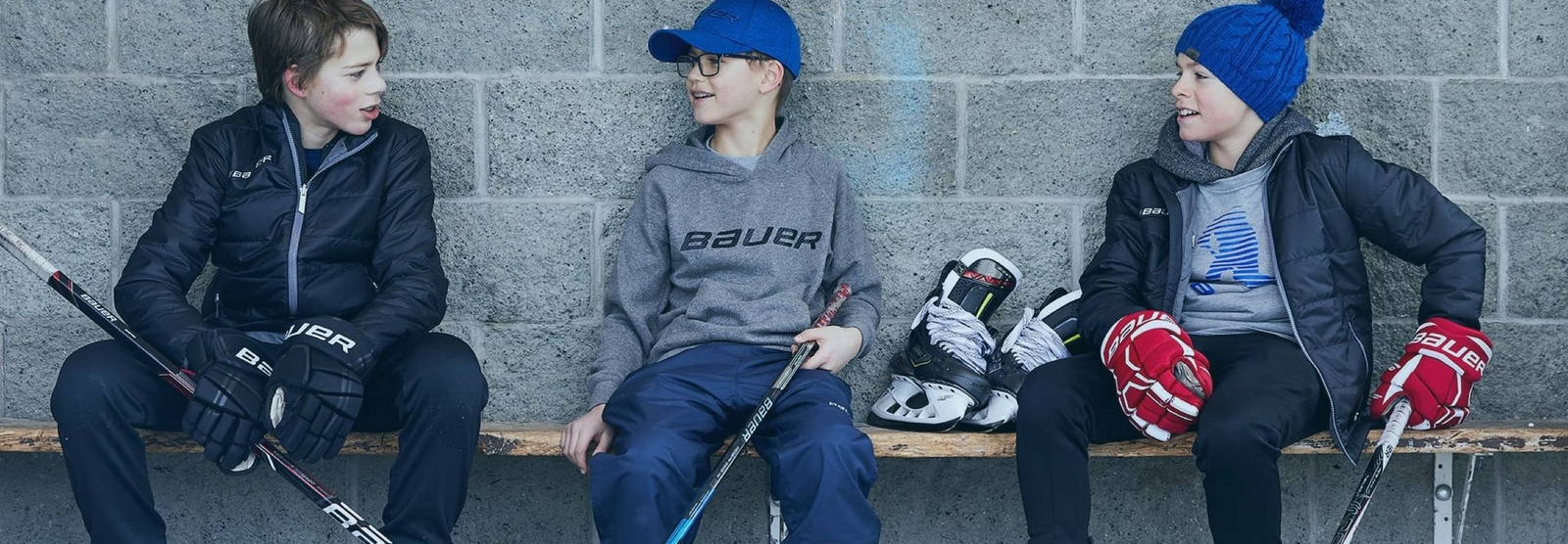hockey kids wearing Bauer apparel.