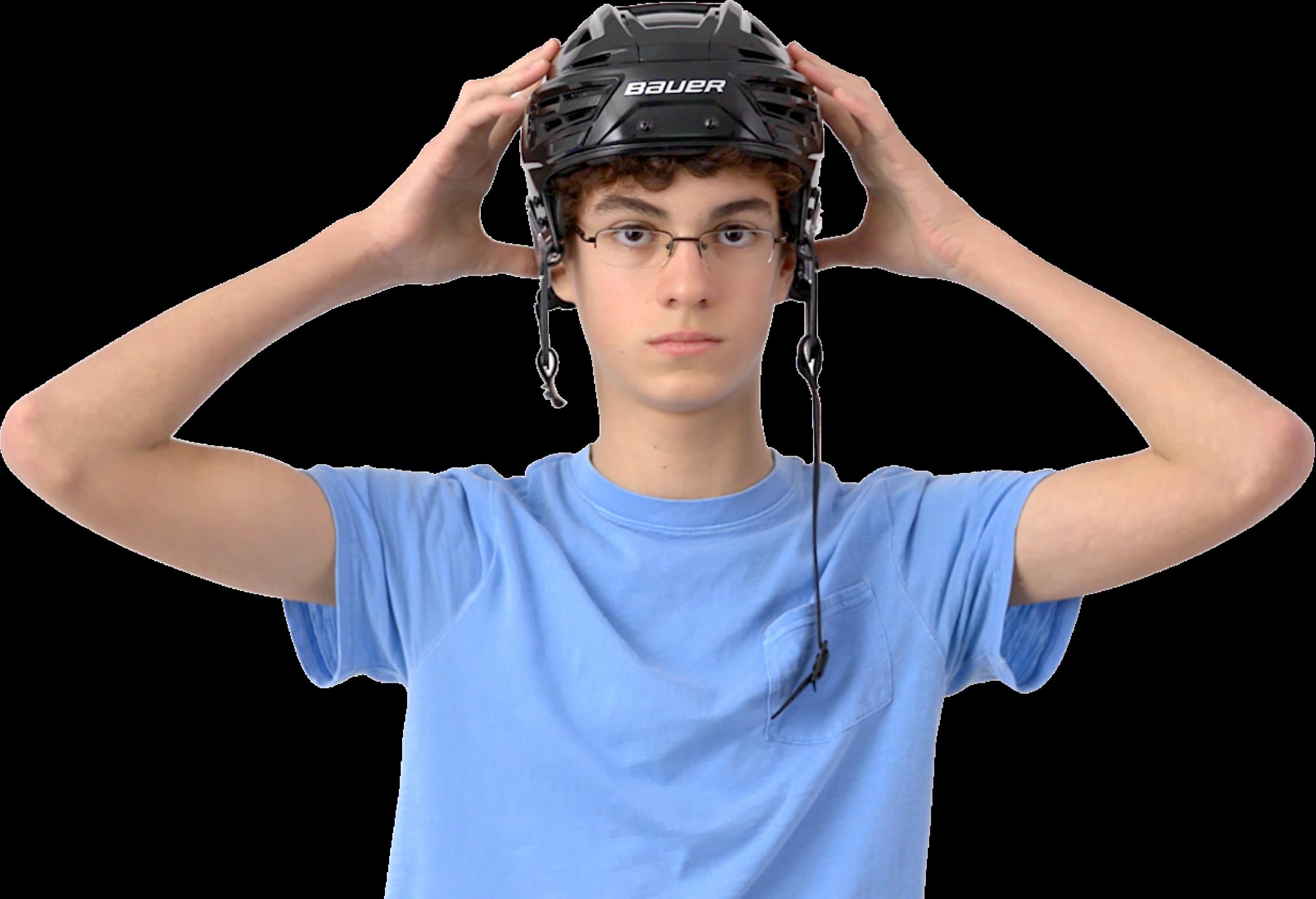 Guy wearing helmet
