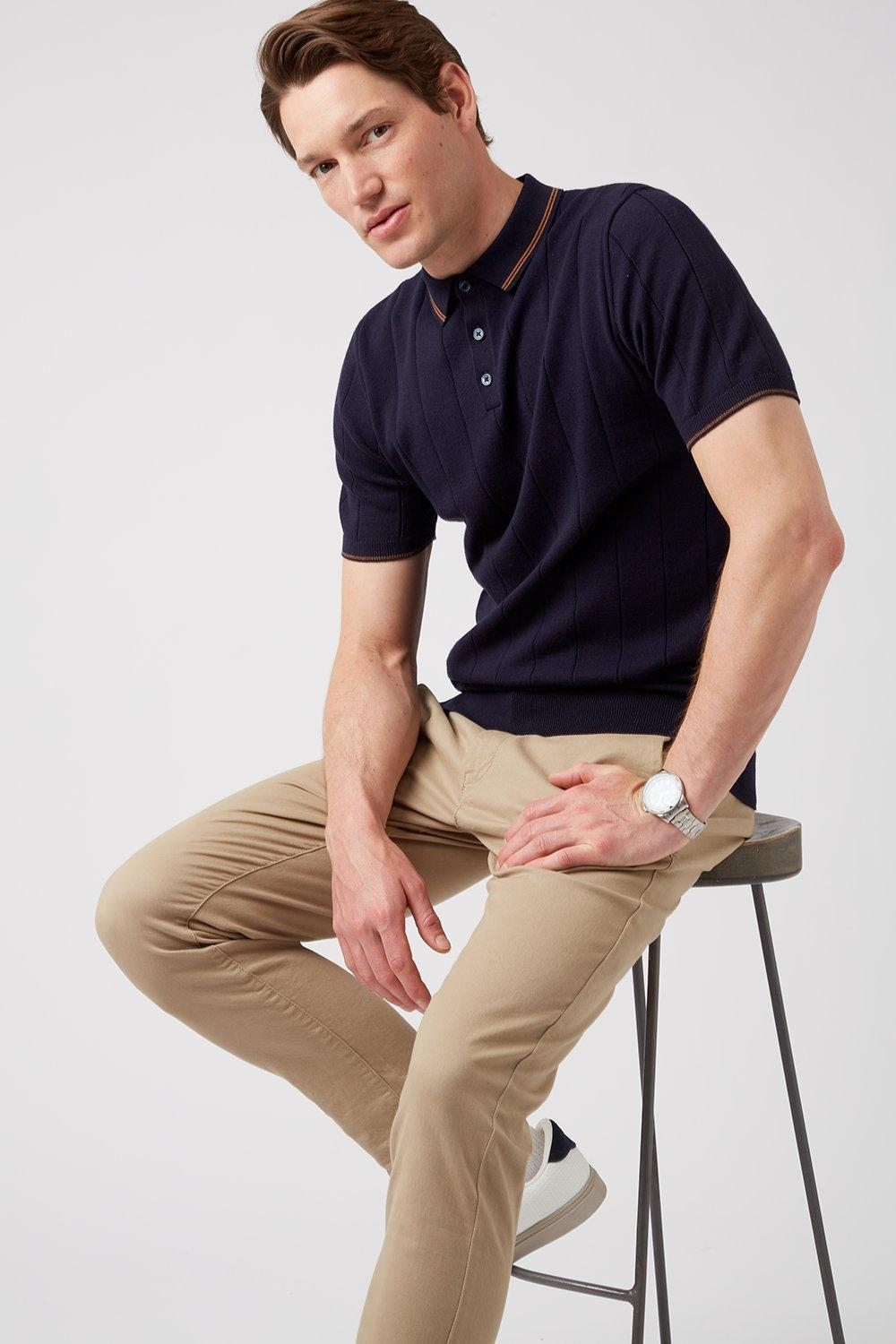 Men'S Navy Tipped Knitted Polo Shirt - S