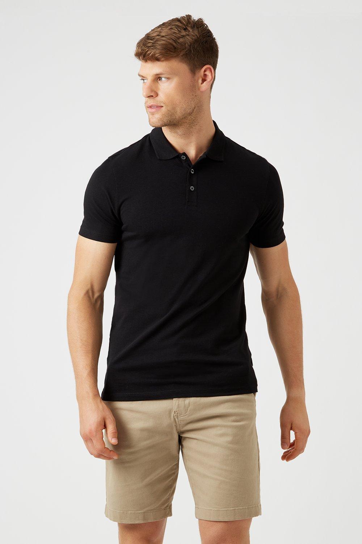 Men'S Black Muscle Fit Polo Shirt - L
