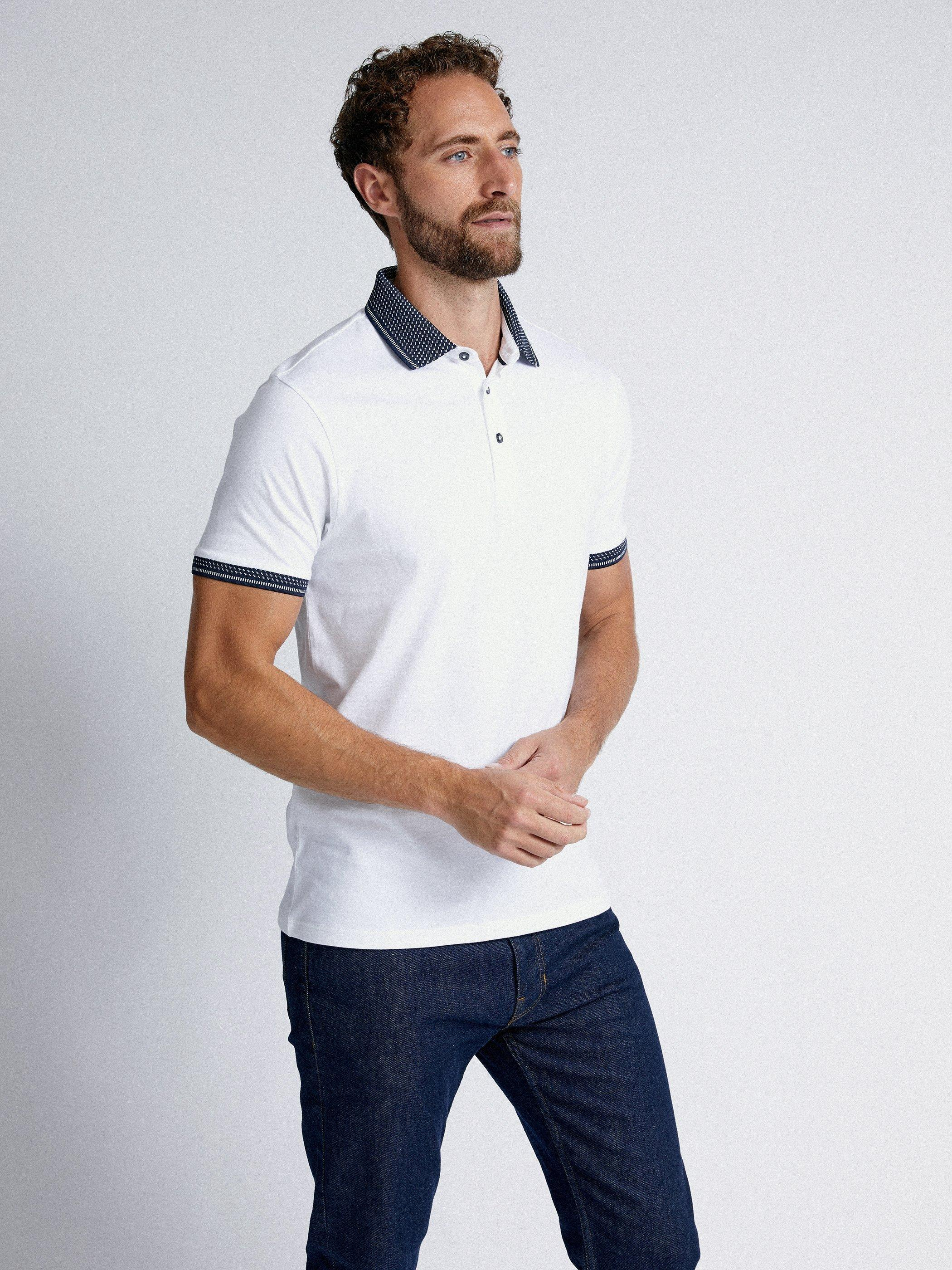 Men'S White Jacquard Collar Polo Shirt - S