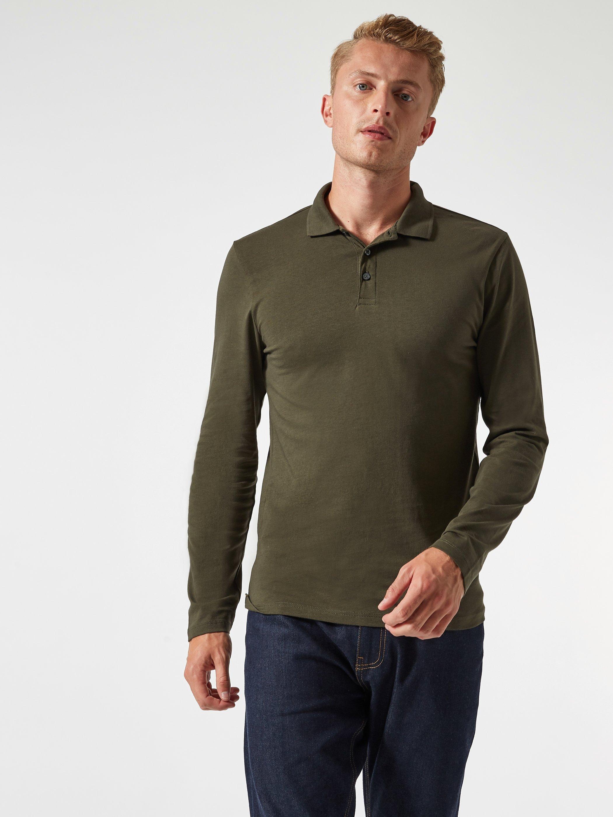 Men'S Dark Khaki Long Sleeved Muscle Fit Polo Shirt - S
