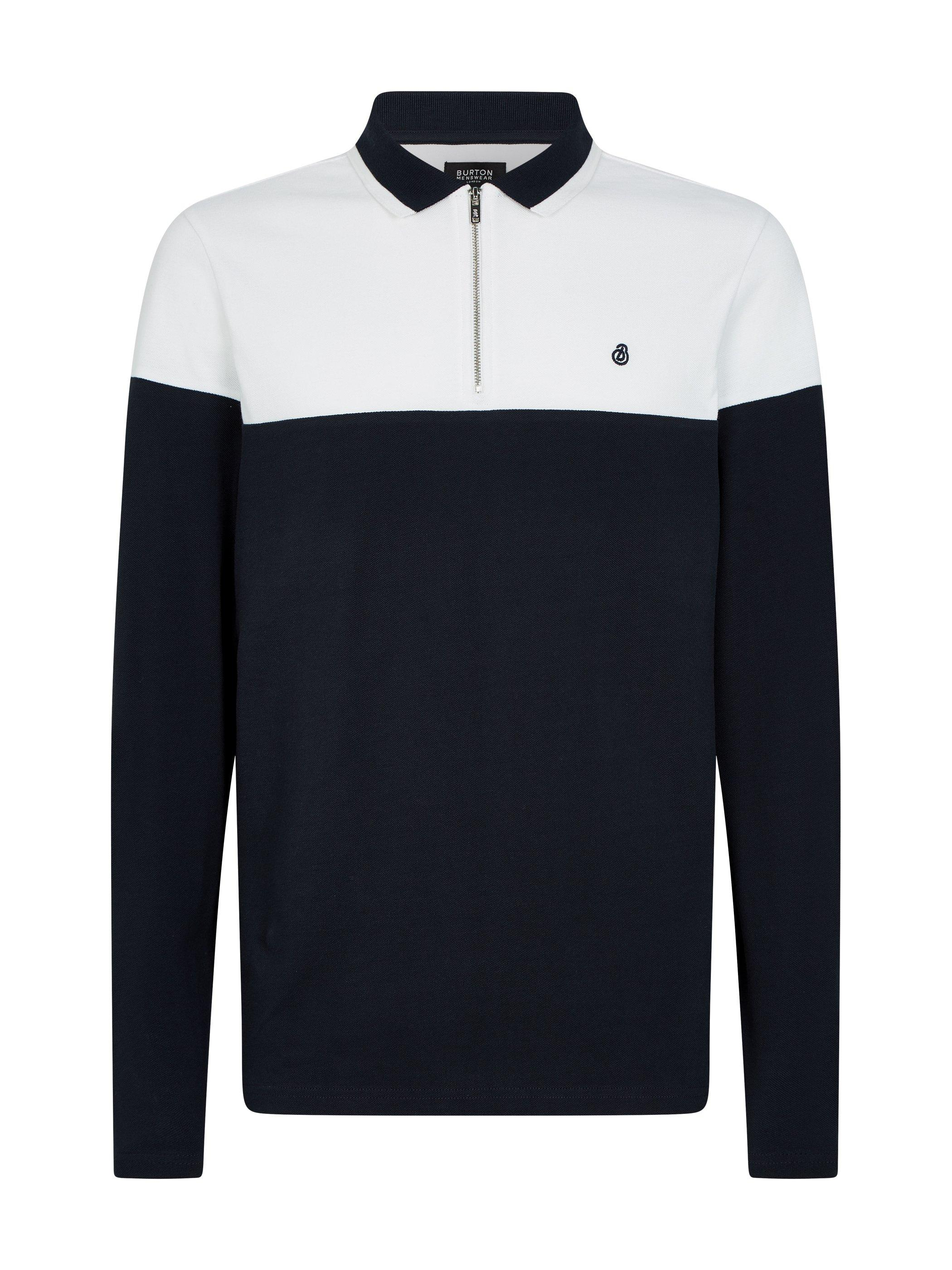 Men'S Navy Cut And Sew Embroidered Zip Polo Shirt - M