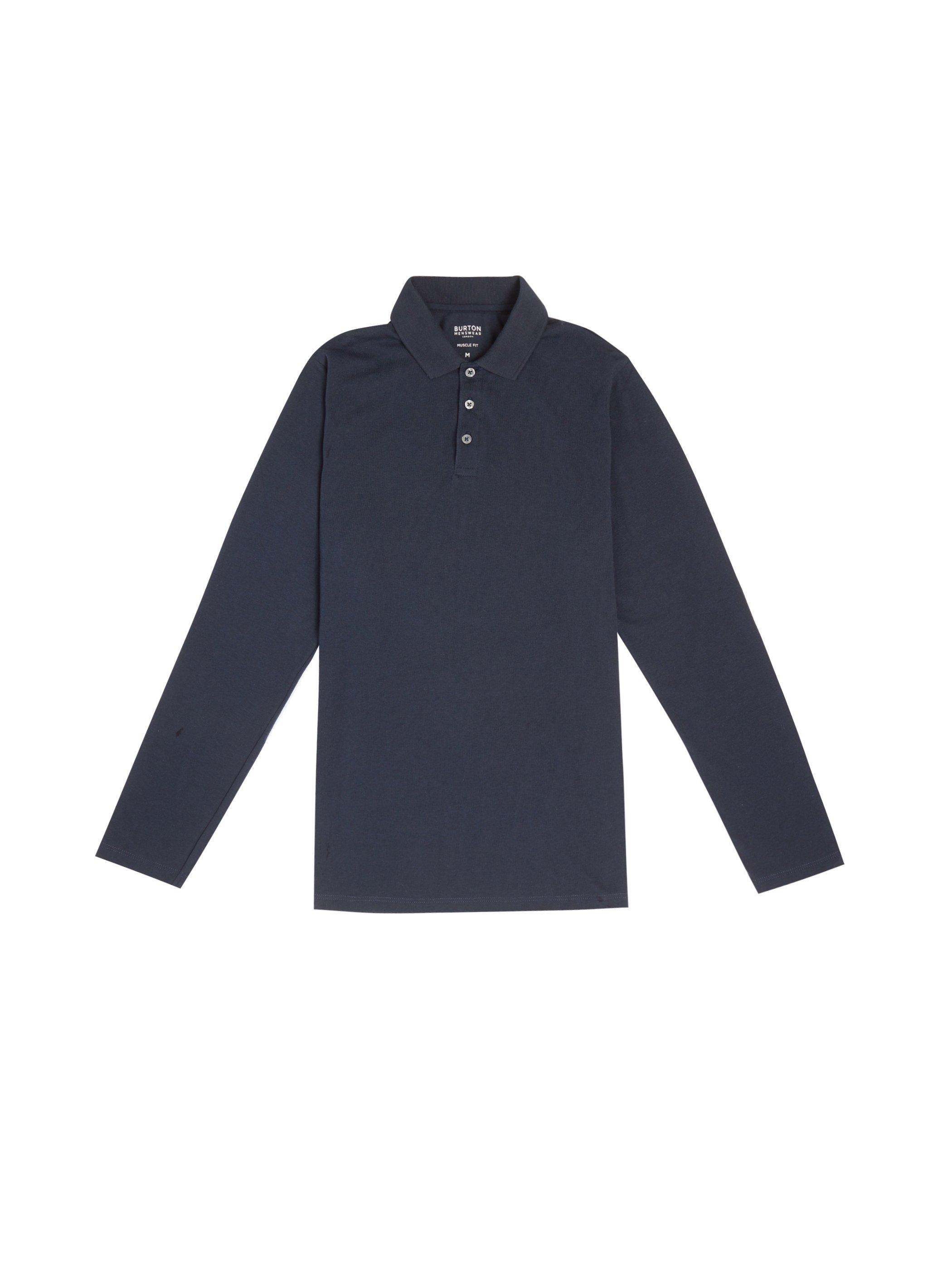 Men'S Navy Long Sleeved Muscle Polo Shirt - S