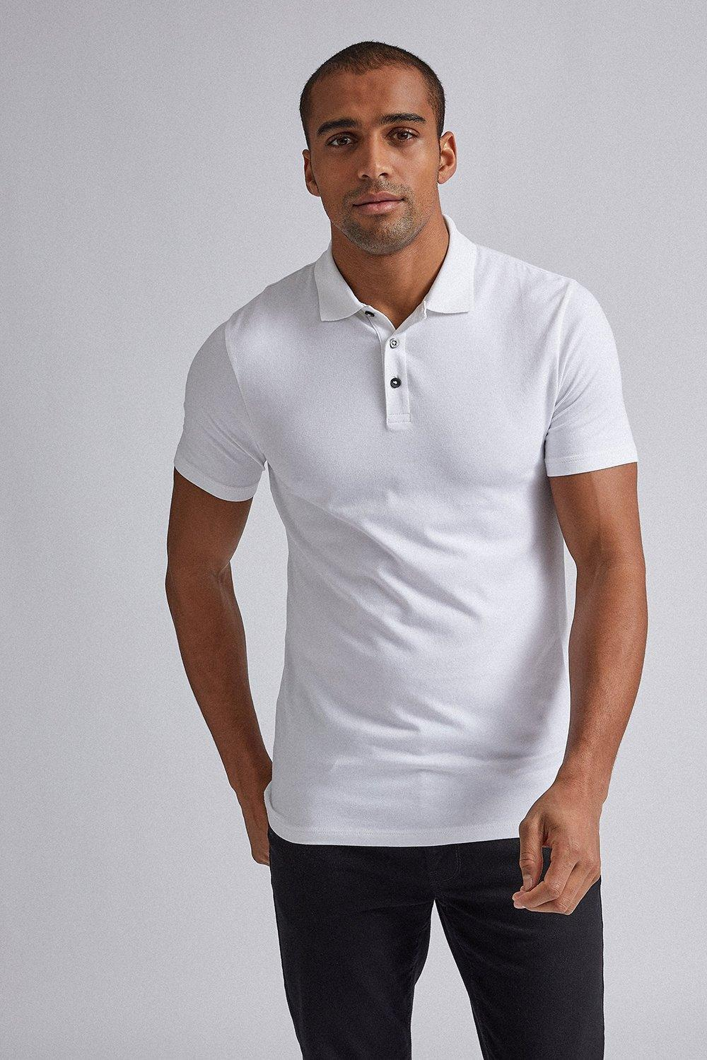 Men'S White Muscle Fit Polo Shirt - S